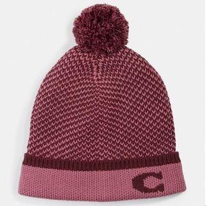 NWT COACH F76492 Colorblocked Knit Hat Pom Pom